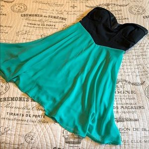 Super Flirty Black and Green Strapless Dress